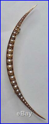 Long Large Antique Victorian 14k Rose Gold Seed Pearl Crescent Moon Brooch Pin