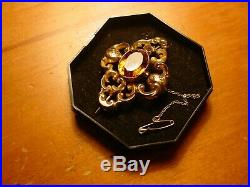 Lovely Large Antique Victorian 9 Carat Gold Brooch With Orange Oval Stone