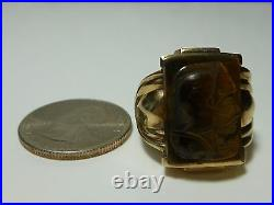 Mens X-large 10k Yellow Gold Tigers Eye Cameo Victorian Nouveau Signed Ring