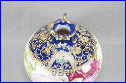 Nippon Hand Painted Large Pink Roses Cobalt Gold Moriage & Green Jeweled Vase