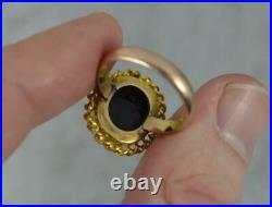 Rare Victorian 9ct Rose Gold and Hardstone Cameo Solitaire Ring t0724