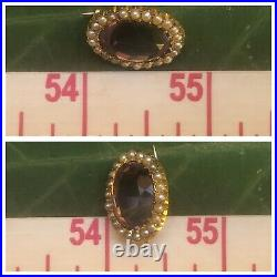 SPARKLING Victorian large amethyst seed pearls brooch pin pendant 15 k 15ct gold