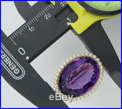 STRIKING ANTIQUE VICTORIAN 14K GOLD BROOCH with LARGE 18 ct AMETHYST + SEED PEARLS