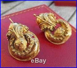 Striking Large Georgian Victorian 9 Ct Rolled Gold Plated Etruscan Drop Earrings