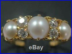 Stunning Antique Victorian Large 18ct Gold Natural Pearl & Old Cut Diamond Ring