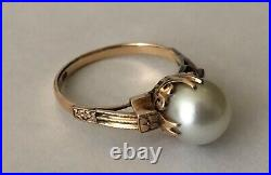 Stunning Victorian 14K. 585 Solid Yellow Gold Large Natural Pearl Estate Ring