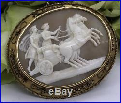Stunning Victorian Yellow Gold Large CAmeo Brooch Chariot Ornate Antique