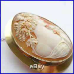 Superb Antique Victorian Shell Cameo Bacchus God of Wine Heavy 9ct Gold Large