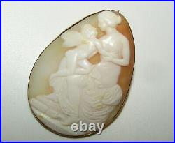 Superb, Large, Antique Victorian 14 Ct Gold Carved Shell Cameo Brooch/pendant