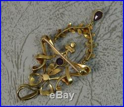 Superb Large Victorian 15ct Gold Pearl & Amethyst Lavalier Pendant Brooch d2037
