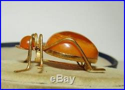 Superb, Large, Victorian 9 Ct Gold Spider Brooch With Natural Amber