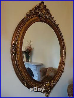 Superb Reproduction Antique Victorian large gold oval Wall hall mirror