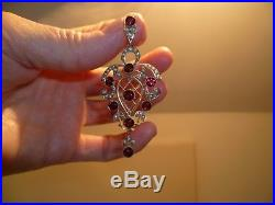 THE MOST Beautiful Large Victorian Garnet Seed Pearl 15ct Gold Pendant 6.2 Gram