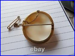 Unusual Victorian 9 Carat Gold Mounted Large Double Head Cameo Brooch Xwl104