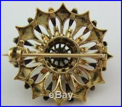 VICTORIAN LARGE 15Ct GOLD & DIAMONDS TARGET BROOCH
