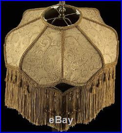 VICTORIAN LARGE LAMPSHADE GOLD EMBOSSED FABRIC With STUNNING BROWN SILK With FRINGE