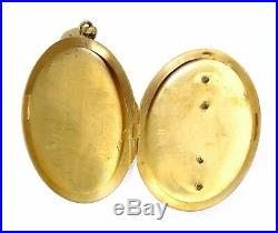 Very Large Antique 1800s 18k Gold Victorian Locket Pearls Necklace Pendant