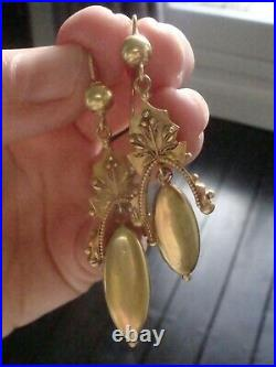 Very Large Victorian 18ct Yellow Gold Etruscan Drop Earrings Fine Quality