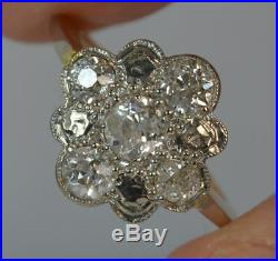 Victorian 1.00ct Old Cut Diamond 15ct Gold Large Cluster Ring d0241