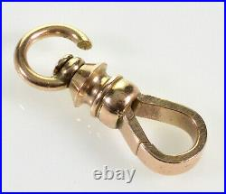 Victorian 14k Gold Large Dog Clip Clasp For Pocket Watch Albert Chain 0254