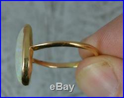 Victorian 15ct Gold and Large Colourful Opal Solitaire Stack Ring d0218
