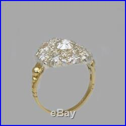 Victorian 18ct Gold Large Cluster Ring Antique Old Cut & Rose Cut Diamond Ring