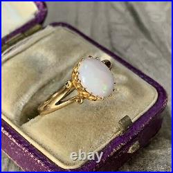 Victorian 22ct Yellow Gold Solid Natural Opal Cabochon Ring, Antique UK K 3/4-L