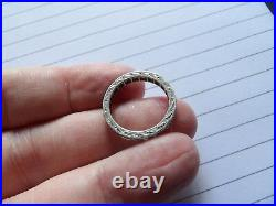 Victorian 9 carat white gold Spinel set engraved eternity band size L XWL51