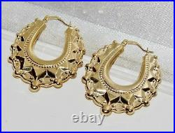 Victorian 9ct Gold Large Spiked Creole Hoop Earrings Solid 9ct Gold
