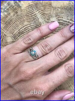 Victorian 9ct Yellow Gold Forget Me Not Cluster Ring Antique Pearl Turquoise