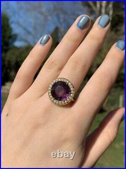 Victorian 9ct yellow gold large amethyst and pearl halo ring