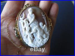 Victorian ANTIQUE Large Impressive 9ct Gold SHELL Carved CAMEO BROOCH