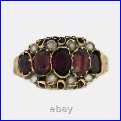 Victorian Almandine Garnet and Pearl Ring 9ct Yellow Gold