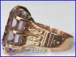 Victorian Antique 14k Rose Gold Large Tall Amethyst Ring Size 7