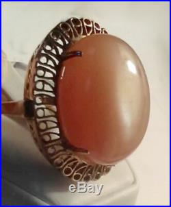 Victorian Antique Opal Cat's Eye Large 35 cts Ring in 14k Rose Gold Sz 7 Italy
