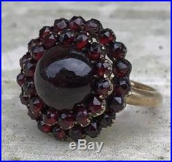 Victorian Antique Yellow Gold Garnet Large Bomb Cluster Ring Band