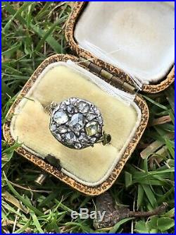 Victorian Antique Yellow Gold Large Rose Cut Diamond Cluster Ring Band