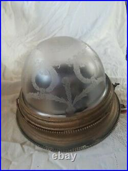 Victorian Ceiling Dome light fixture, etched frosted glass, new wiring, rare