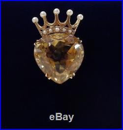Victorian Citrine and Pearl Pendant 9ct Gold Large Heart and Crown