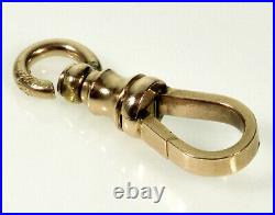Victorian Extra Large 14k Gold Dog Clip Clasp For Pocket Watch Albert Chain 0222
