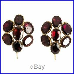 Victorian Extra Large Flat Cut Garnet and Yellow Gold Earrings