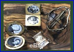 Victorian Gold Lockets Mourning Jewelry Brooch Photos Pendants Antique Large Lot