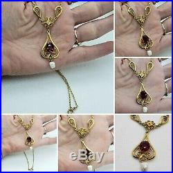 Victorian Large 12k Yellow Gold Filled Filigree Garnet Glass Lavaliere Necklace