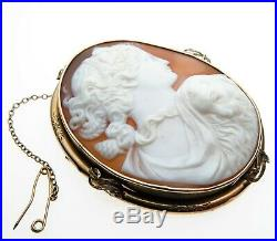 Victorian Large 9ct Gold Mounted Carved Cameo Portrait Head and Lamb