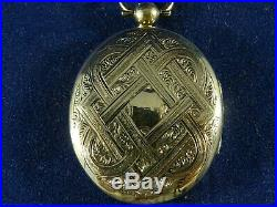 Victorian Large 9ct Gold Oval Double Sided Opening Locket with Black Enamel Side