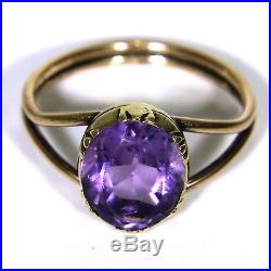 Victorian Large Amethyst Solitaire 9ct Rose & Yellow Gold Ring size R 1/2 9