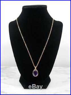 Victorian Large Faceted Oval Purple Amethyst Solid 14k Rose Gold Chain Necklace