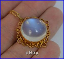 Victorian Large Moonstone Solitaire and 9ct Gold Pendant and Chain d1884