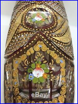 Victorian Large Red Moser Gilded Enamelled Cut Glass Vase Bohemian Circa 1860