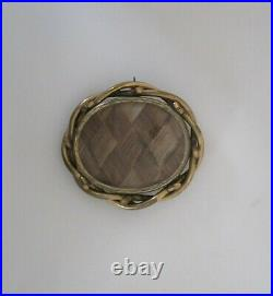Victorian Mourning Hair Art Braided Large Woven Edge Pin Gold Plate